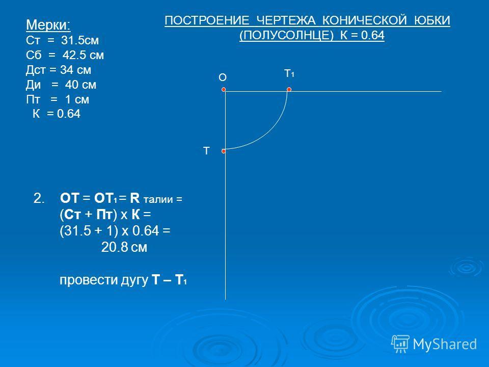О Т Т1Т1 Мерки: Ст = 31.5см Сб = 42.5 см Дст = 34 см Ди = 40 см Пт = 1 см К = 0.64 2. ОТ = ОТ 1 = R талии = (Ст + Пт) х К = (31.5 + 1) х 0.64 = 20.8 см провести дугу Т – Т 1 ПОСТРОЕНИЕ ЧЕРТЕЖА КОНИЧЕСКОЙ ЮБКИ (ПОЛУСОЛНЦЕ) К = 0.64