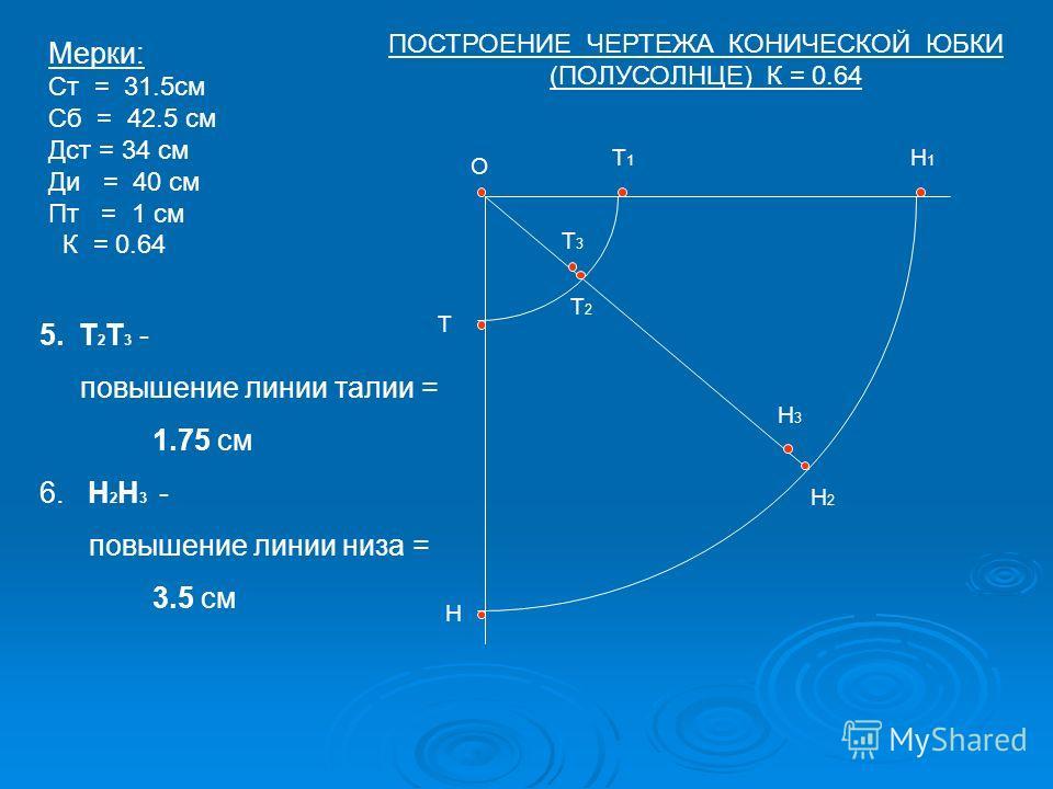 О Т Т1Т1 Н Н1Н1 Т2Т2 Н2Н2 Н3Н3 Т3Т3 Мерки: Ст = 31.5см Сб = 42.5 см Дст = 34 см Ди = 40 см Пт = 1 см К = 0.64 5.Т 2 Т 3 - повышение линии талии = 1.75 см 6. Н 2 Н 3 - повышение линии низа = 3.5 см ПОСТРОЕНИЕ ЧЕРТЕЖА КОНИЧЕСКОЙ ЮБКИ (ПОЛУСОЛНЦЕ) К = 0