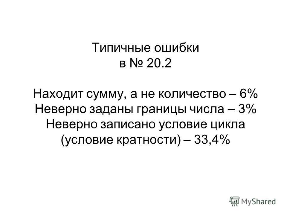 Типичные ошибки в 20.2 Находит сумму, а не количество – 6% Неверно заданы границы числа – 3% Неверно записано условие цикла (условие кратности) – 33,4%