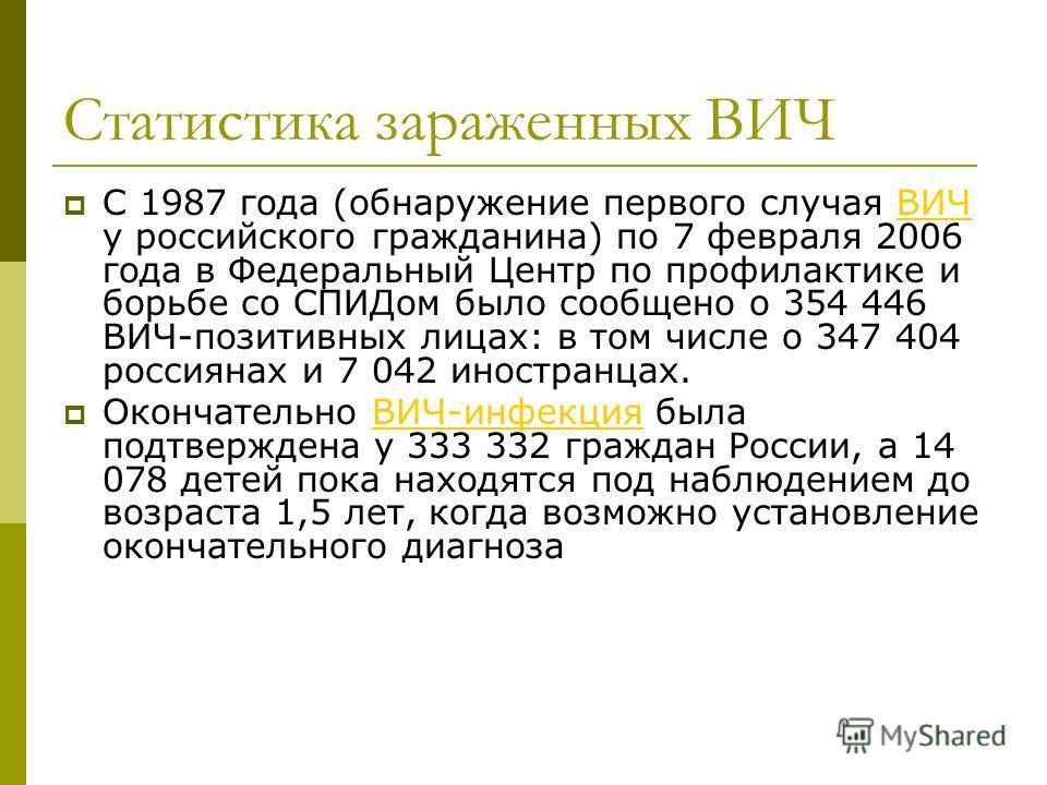 Статистика зараженных ВИЧ С 1987 года (обнаружение первого случая ВИЧ у российского гражданина) по 7 февраля 2006 года в Федеральный Центр по профилактике и борьбе со СПИДом было сообщено о 354 446 ВИЧ-позитивных лицах: в том числе о 347 404 россияна