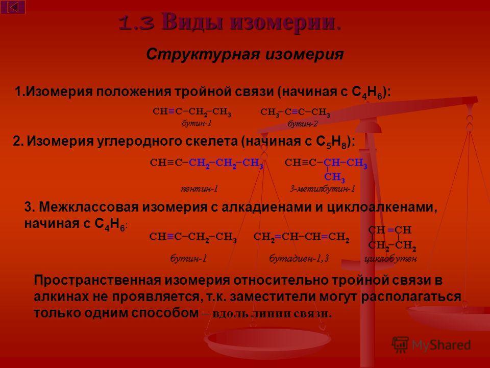 1.3 Виды изомерии. Структурная изомерия 1.Изомерия положения тройной связи (начиная с С 4 Н 6 ): 2. Изомерия углеродного скелета (начиная с С 5 Н 8 ): 3. Межклассовая изомерия с алкадиенами и циклоалкенами, начиная с С 4 Н 6 : Пространственная изомер