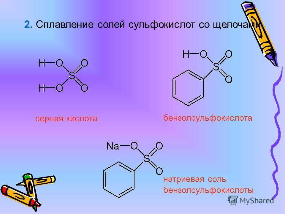 2. Сплавление солей сульфокислот со щелочами серная кислота бензолсульфокислота натриевая соль бензолсульфокислоты