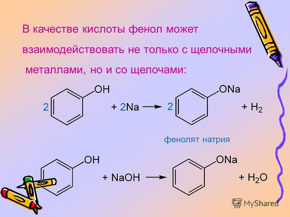 В качестве кислоты фенол может взаимодействовать не только с щелочными металлами, но и со щелочами: фенолят натрия