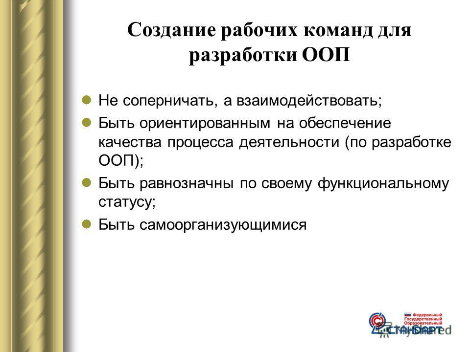 Создание рабочих команд для разработки ООП Не соперничать, а взаимодействовать; Быть ориентированным на обеспечение качества процесса деятельности (по разработке ООП); Быть равнозначны по своему функциональному статусу; Быть самоорганизующимися