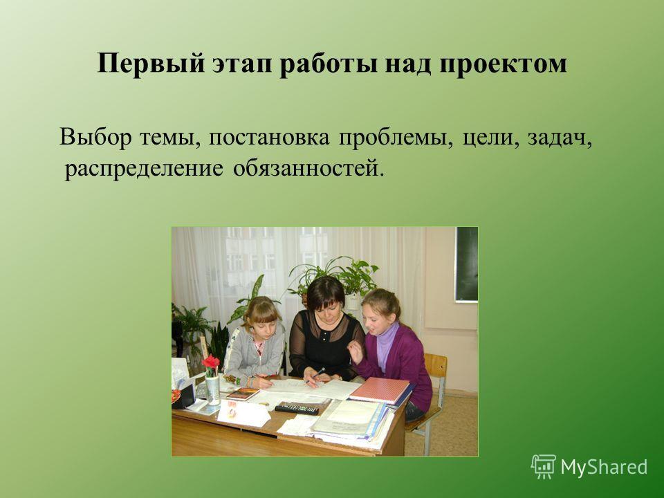 Первый этап работы над проектом Выбор темы, постановка проблемы, цели, задач, распределение обязанностей.