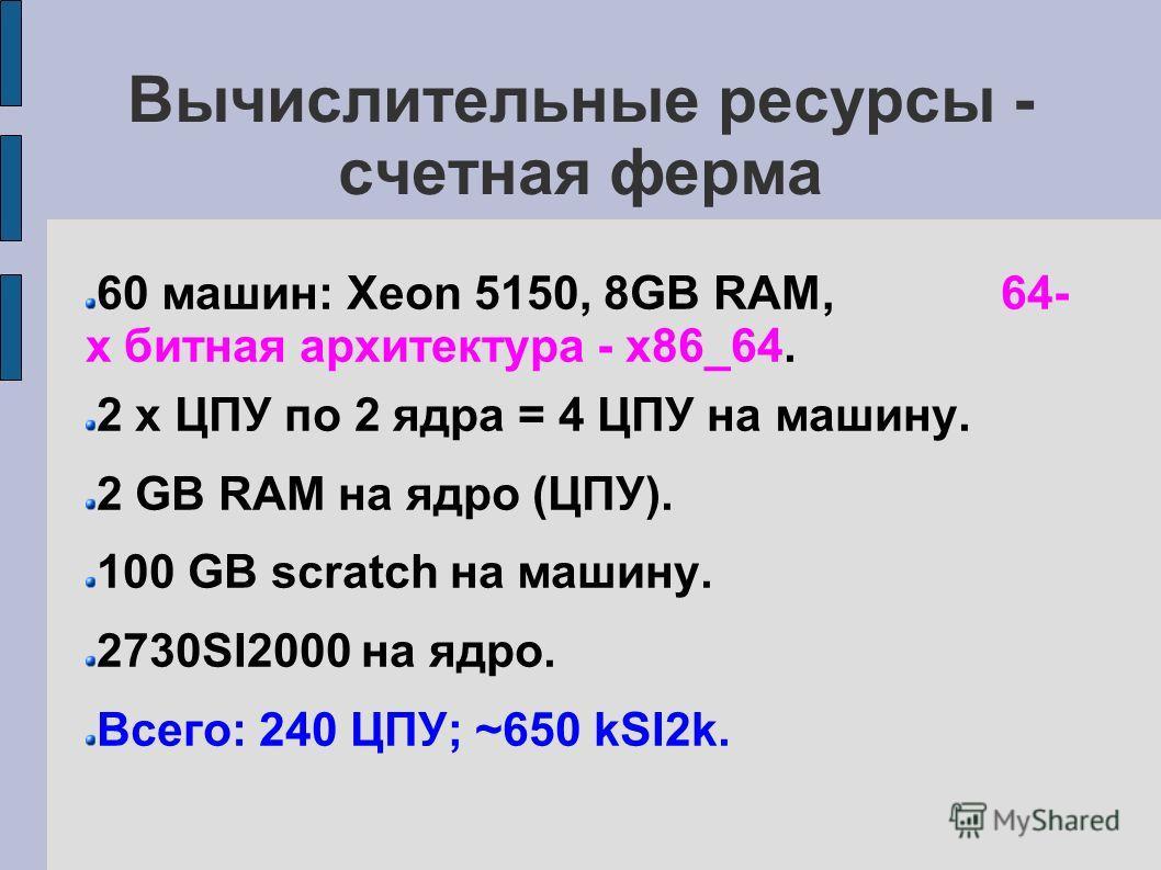 Вычислительные ресурсы - счетная ферма 60 машин: Xeon 5150, 8GB RAM, 64- х битная архитектура - x86_64. 2 x ЦПУ по 2 ядра = 4 ЦПУ на машину. 2 GB RAM на ядро (ЦПУ). 100 GB scratch на машину. 2730SI2000 на ядро. Всего: 240 ЦПУ; ~650 kSI2k.