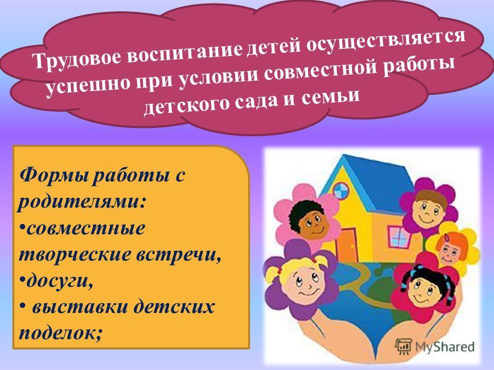 Трудовое воспитание детей осуществляется успешно при условии совместной работы детского сада и семьи Формы работы с родителями: совместные творческие встречи, досуги, выставки детских поделок;