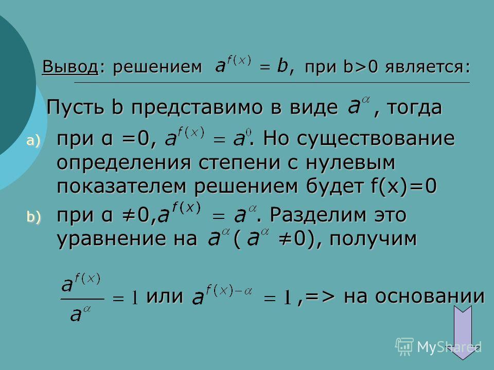 Вывод: решением при b>0 является: Пусть b представимо в виде, тогда a) при α =0,. Но существование определения степени с нулевым показателем решением будет f(x)=0 b) при α 0,. Разделим это уравнение на ( 0), получим или,=> на основании или,=> на осно