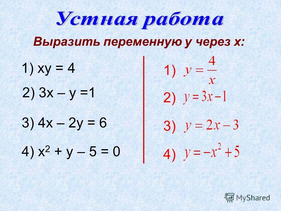 1) ху = 4 Выразить переменную у через х: 1) 2) 3) 4) 2) 3х – у =1 3) 4х – 2у = 6 4) х 2 + у – 5 = 0