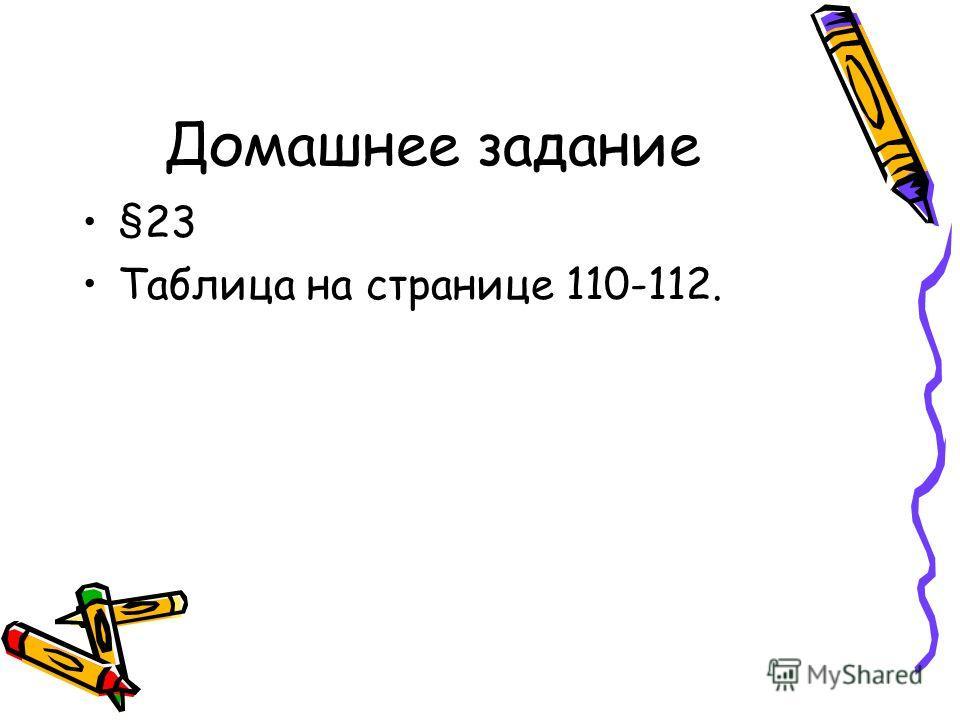 Домашнее задание §23 Таблица на странице 110-112.