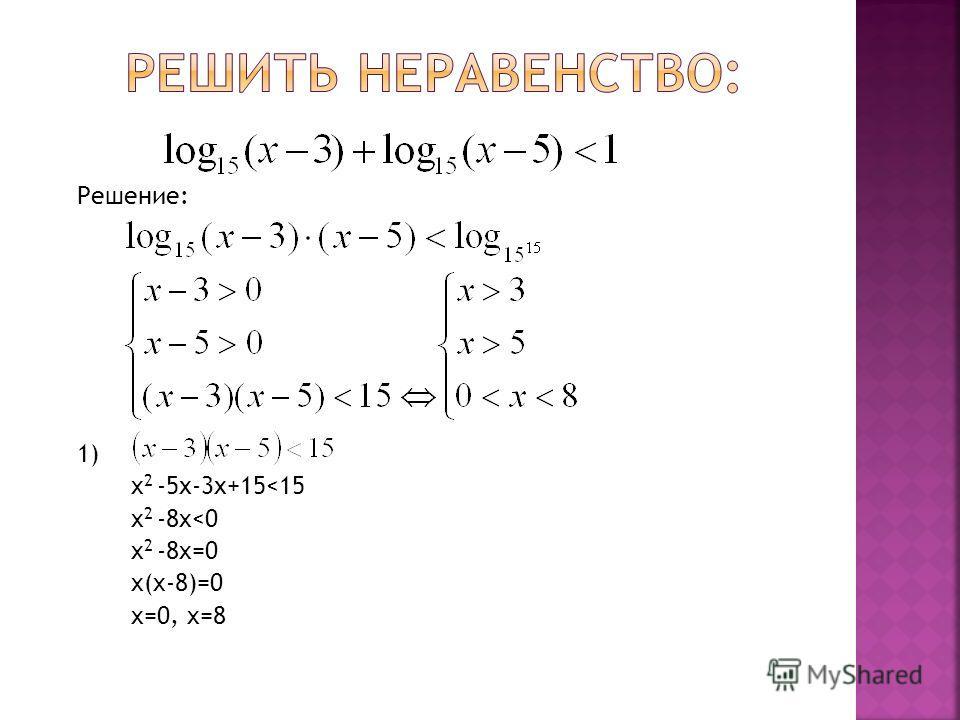 Решение: 1) x 2 -5х-3х+15