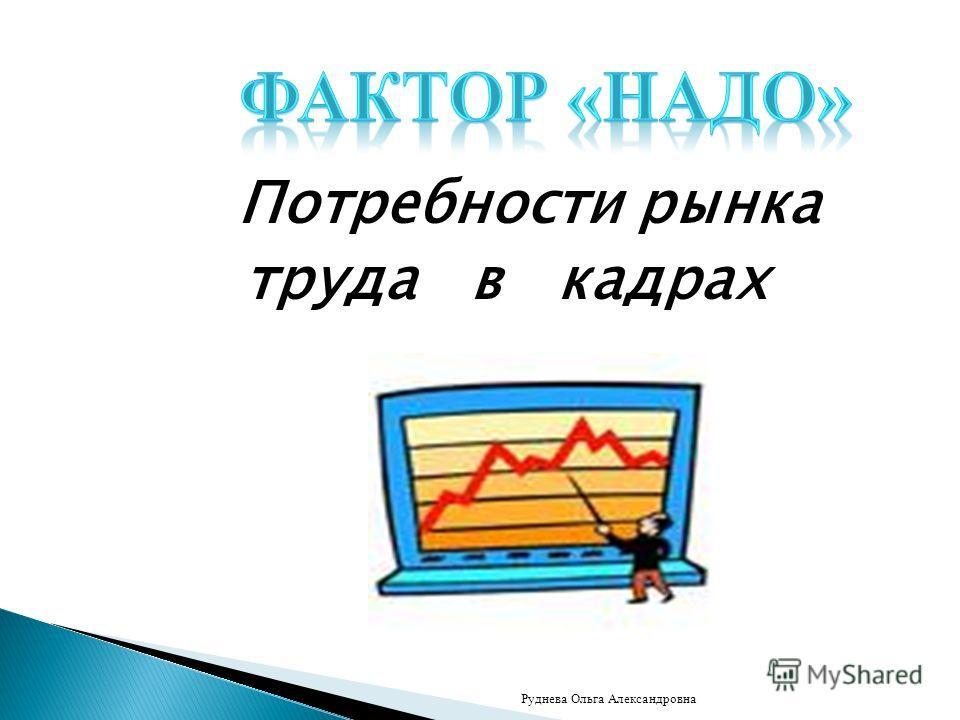 Потребности рынка труда в кадрах Руднева Ольга Александровна