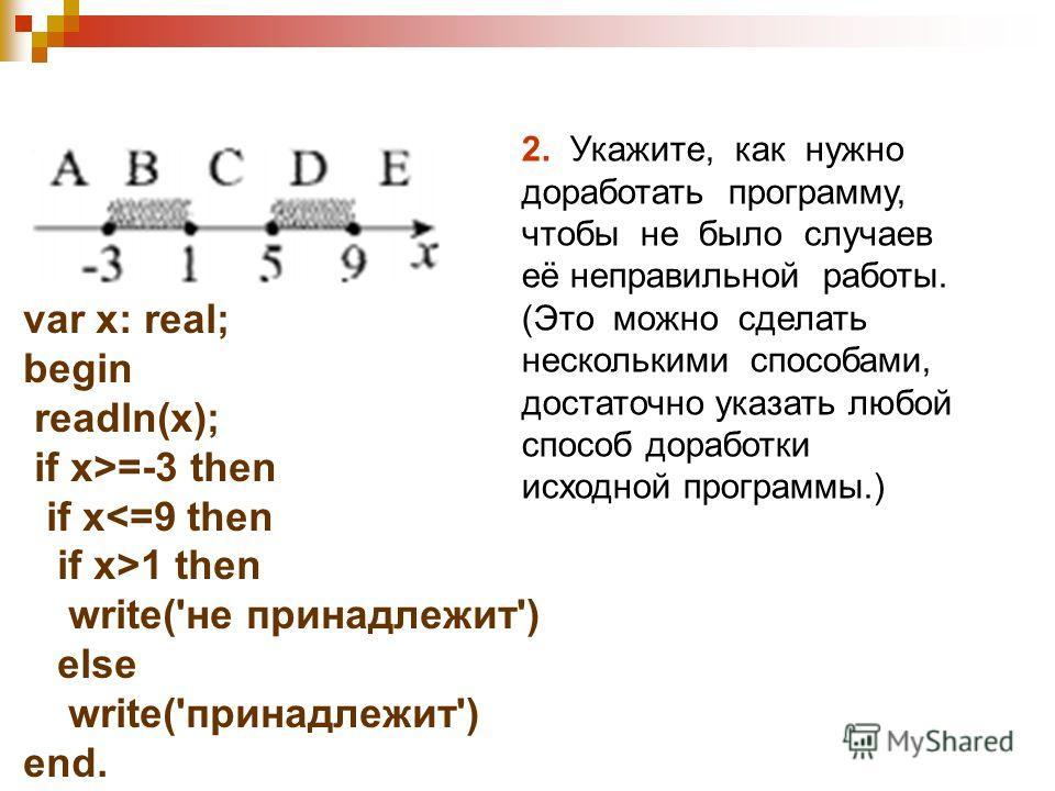 var x: real; begin readln(x); if x>=-3 then if x1 then write('не принадлежит') else write('принадлежит') end. 2. Укажите, как нужно доработать программу, чтобы не было случаев её неправильной работы. (Это можно сделать несколькими способами, достаточ