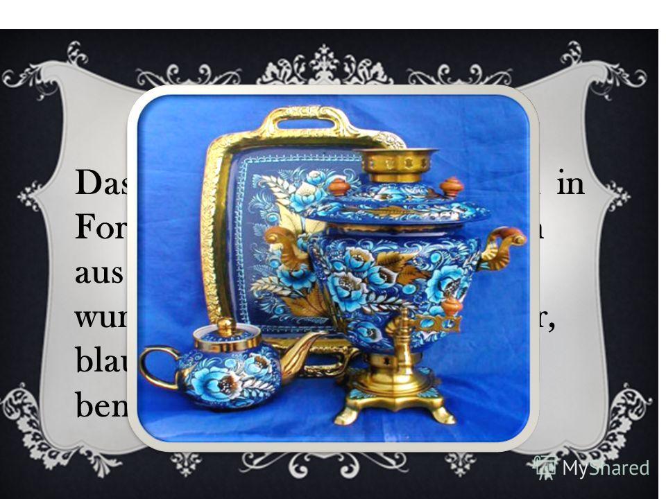 Das Geschirr und die Figuren in Form von Tieren und Gestalten aus dem russischen Alltag wurden zunächst in lila, gelber, blauer und brauner Farbe bemalt.