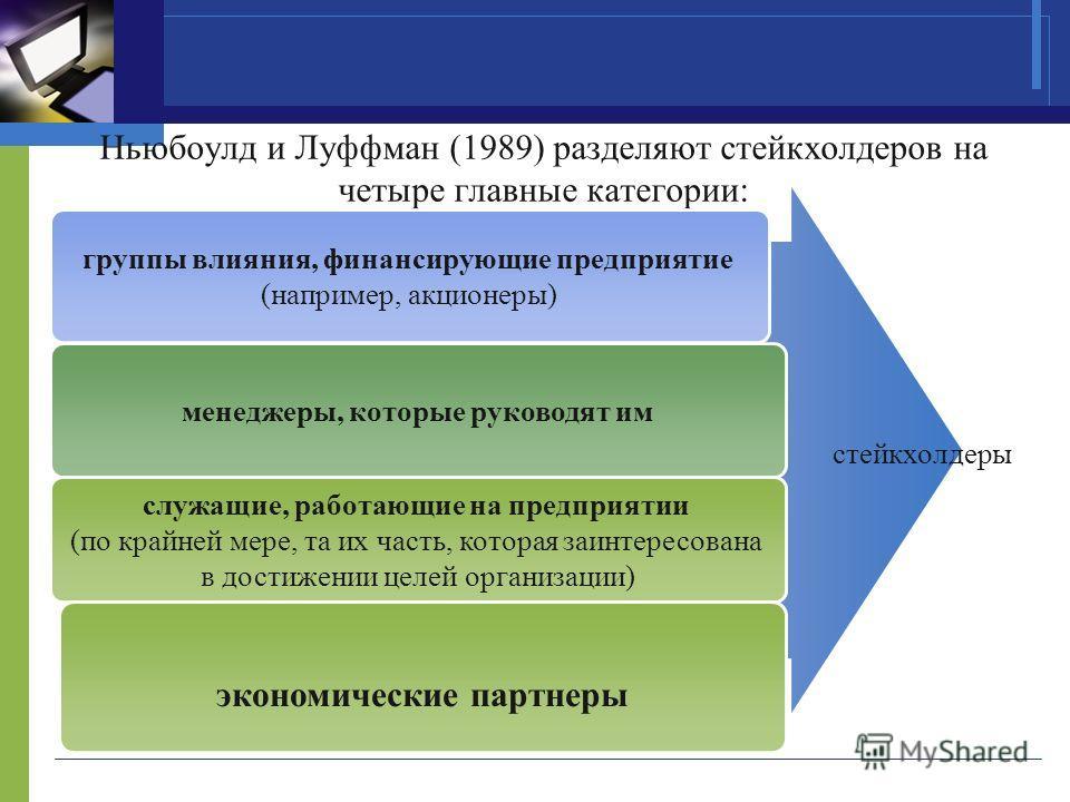 Ньюбоулд и Луффман (1989) разделяют стейкхолдеров на четыре главные категории: группы влияния, финансирующие предприятие (например, акционеры) менеджеры, которые руководят им служащие, работающие на предприятии (по крайней мере, та их часть, которая