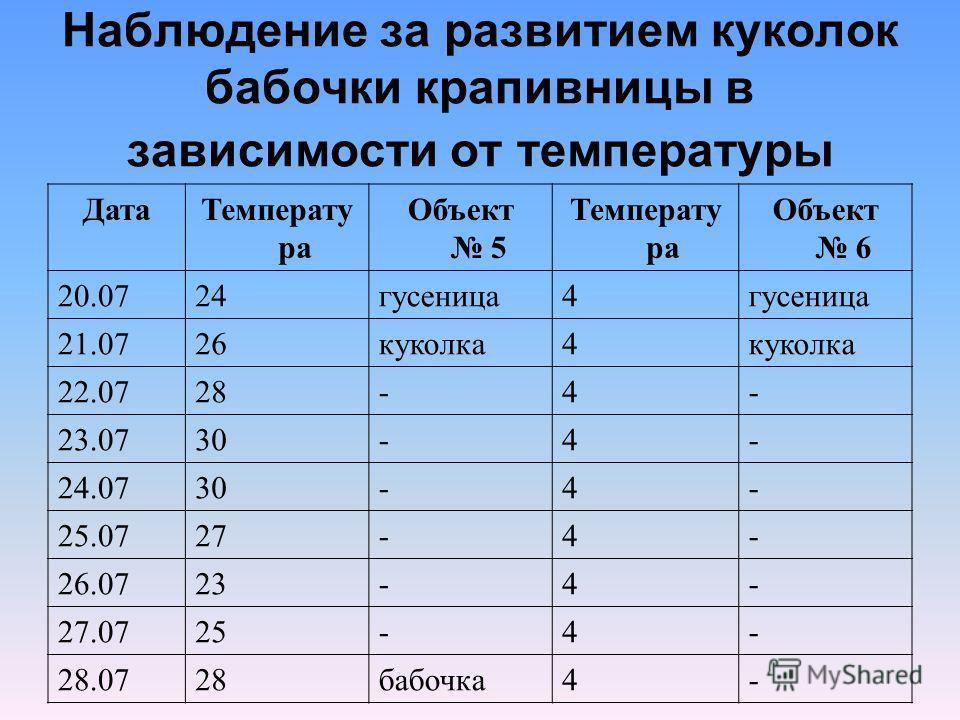 Наблюдение за развитием куколок бабочки крапивницы в зависимости от температуры ДатаТемперату ра Объект 5 Температу ра Объект 6 20.0724гусеница4 21.0726куколка4 22.0728-4- 23.0730-4- 24.0730-4- 25.0727-4- 26.0723-4- 27.0725-4- 28.0728бабочка4-
