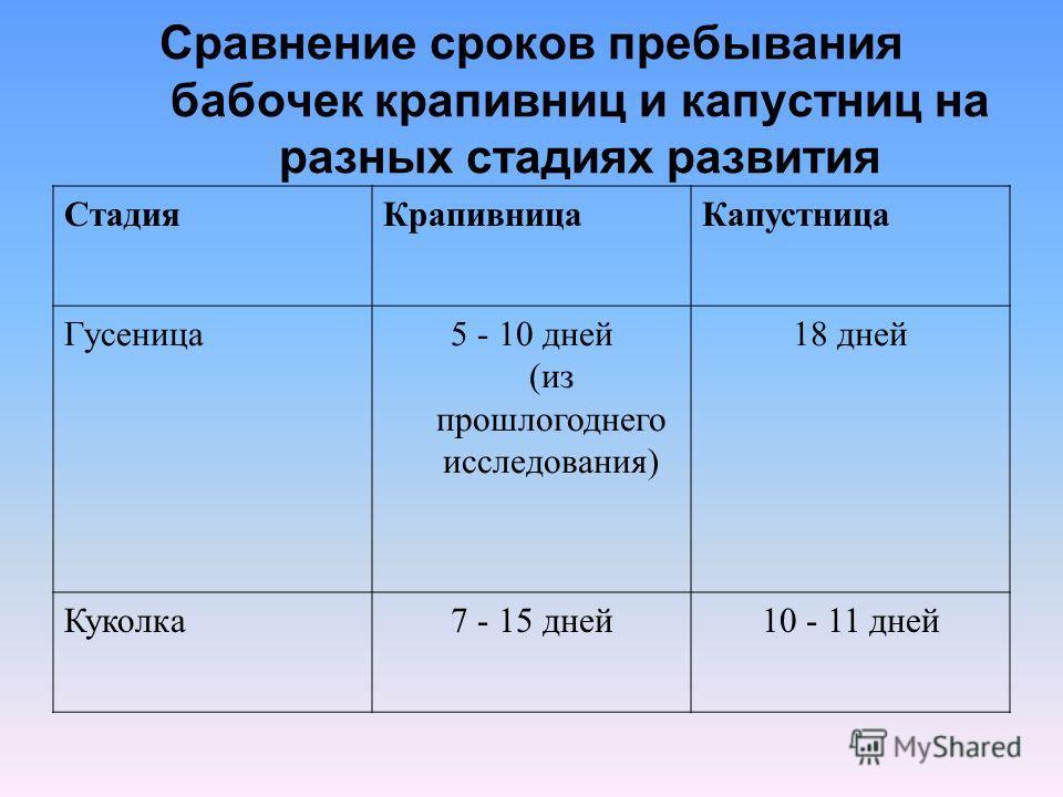 Сравнение сроков пребывания бабочек крапивниц и капустниц на разных стадиях развития СтадияКрапивницаКапустница Гусеница5 - 10 дней (из прошлогоднего исследования) 18 дней Куколка7 - 15 дней10 - 11 дней