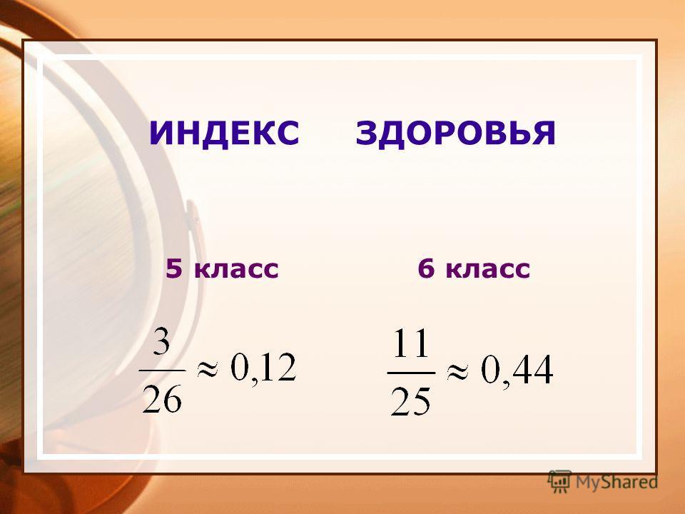 ИНДЕКС ЗДОРОВЬЯ 5 класс 6 класс
