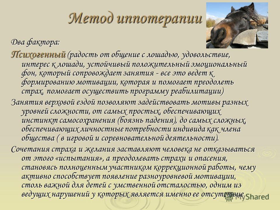 Метод иппотерапии Два фактора: Психогенный (радость от общение с лошадью, удовольствие, интерес к лошади, устойчивый положительный эмоциональный фон, который сопровождает занятия - все это ведет к формированию мотивации, которая и помогает преодолеть