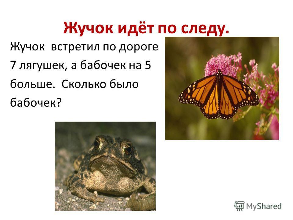 Жучок идёт по следу. Жучок встретил по дороге 7 лягушек, а бабочек на 5 больше. Сколько было бабочек?