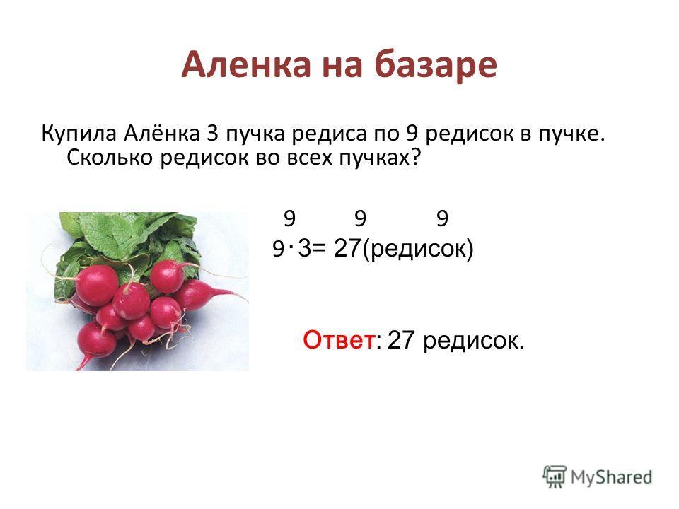 Аленка на базаре Купила Алёнка 3 пучка редиса по 9 редисок в пучке. Сколько редисок во всех пучках? 9 9 9 9 3= 27(редисок) Ответ: 27 редисок.