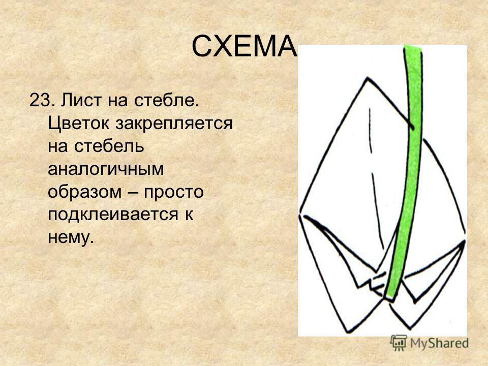 СХЕМА 23. Лист на стебле. Цветок закрепляется на стебель аналогичным образом – просто подклеивается к нему.