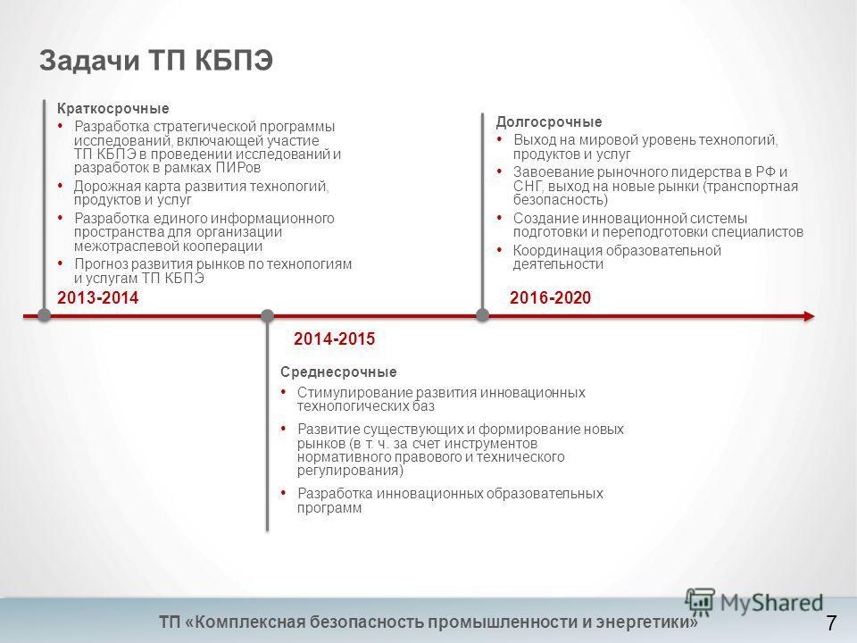 Задачи ТП КБПЭ 2013-2014 Краткосрочные Разработка стратегической программы исследований, включающей участие ТП КБПЭ в проведении исследований и разработок в рамках ПИРов Дорожная карта развития технологий, продуктов и услуг Разработка единого информа