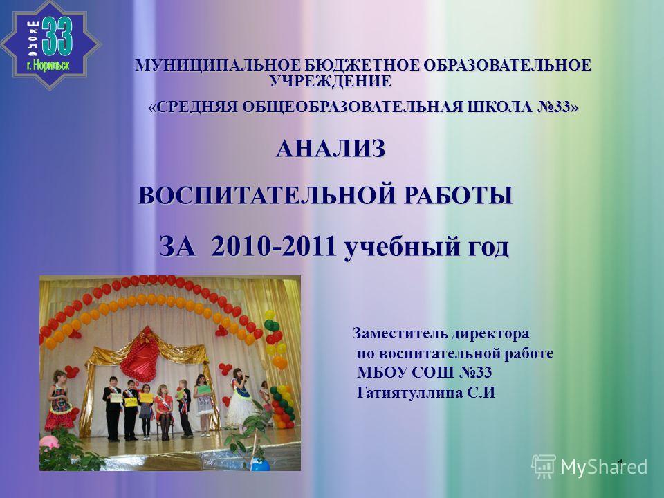 1 МУНИЦИПАЛЬНОЕ БЮДЖЕТНОЕ ОБРАЗОВАТЕЛЬНОЕ УЧРЕЖДЕНИЕ «СРЕДНЯЯ ОБЩЕОБРАЗОВАТЕЛЬНАЯ ШКОЛА 33» АНАЛИЗ ВОСПИТАТЕЛЬНОЙ РАБОТЫ ВОСПИТАТЕЛЬНОЙ РАБОТЫ ЗА 2010-2011 учебный год ЗА 2010-2011 учебный год Заместитель директора по воспитательной работе МБОУ СОШ 3