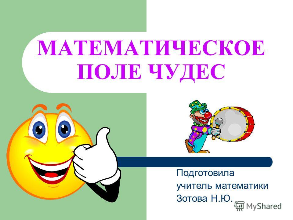 МАТЕМАТИЧЕСКОЕ ПОЛЕ ЧУДЕС Подготовила учитель математики Зотова Н.Ю.
