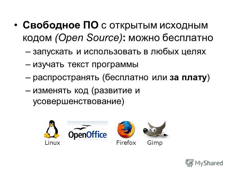 Свободное ПО с открытым исходным кодом (Open Source): можно бесплатно –запускать и использовать в любых целях –изучать текст программы –распространять (бесплатно или за плату) –изменять код (развитие и усовершенствование) LinuxGimpFirefox