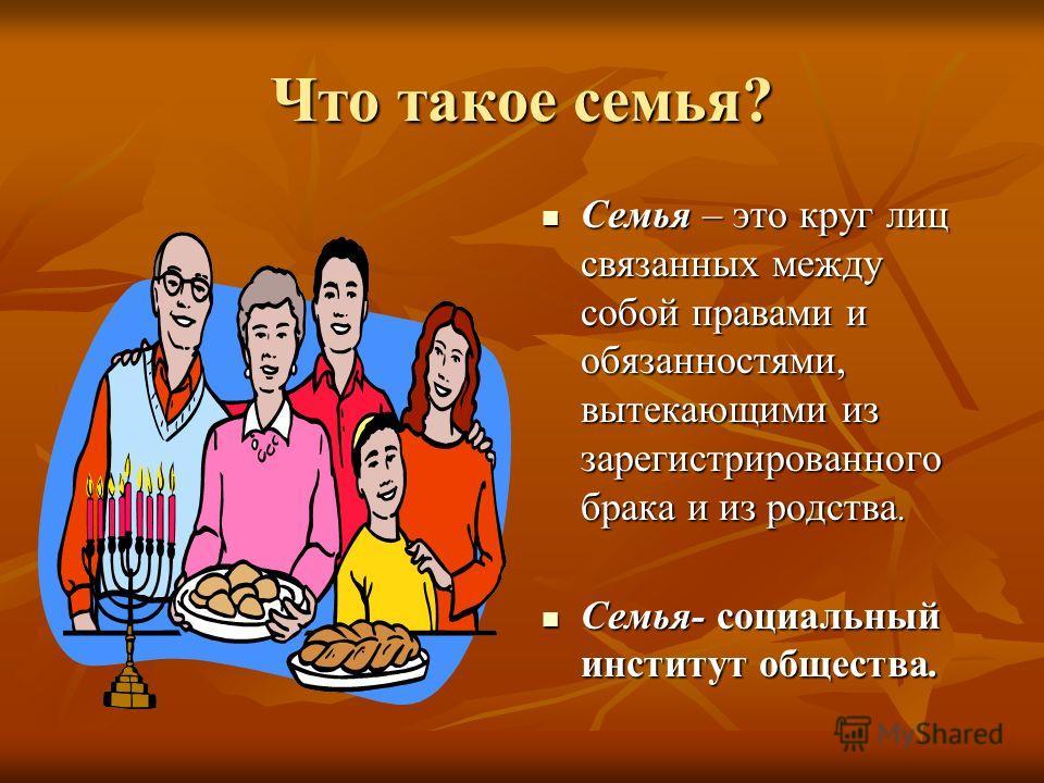 Что такое семья? Семья – это круг лиц связанных между собой правами и обязанностями, вытекающими из зарегистрированного брака и из родства. Семья – это круг лиц связанных между собой правами и обязанностями, вытекающими из зарегистрированного брака и