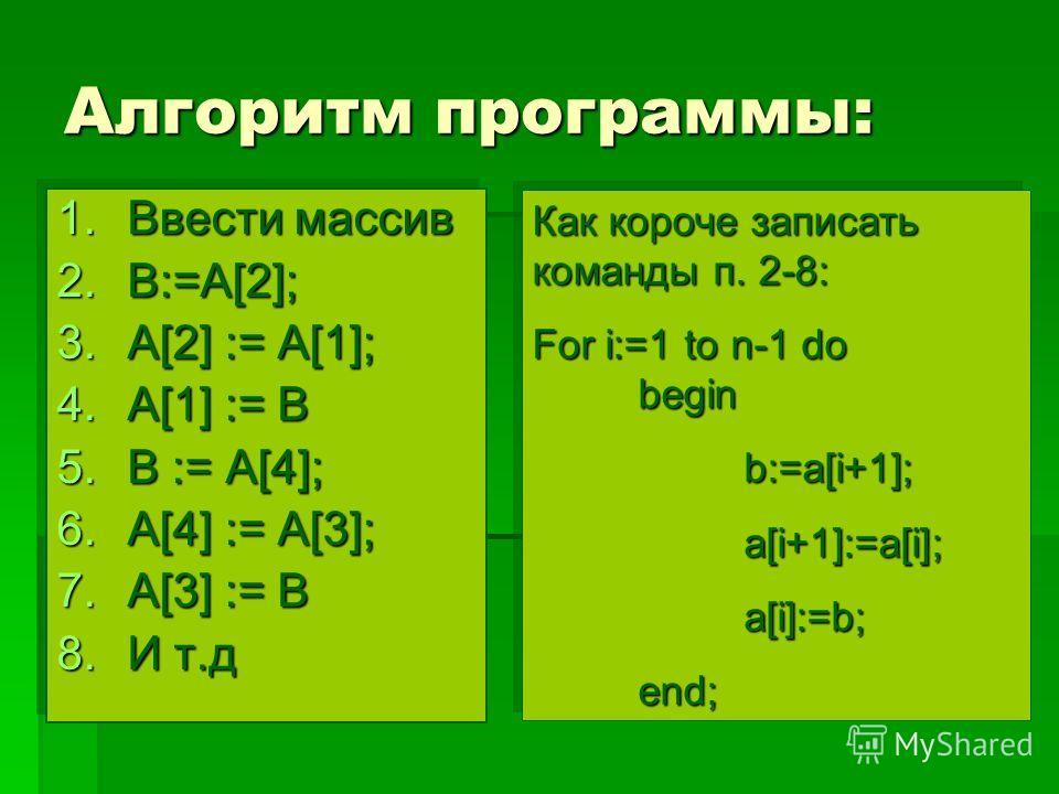 Алгоритм программы: 1.Ввести массив 2.B:=А[2]; 3.A[2] := A[1]; 4.A[1] := B 5.B := A[4]; 6.A[4] := A[3]; 7.A[3] := B 8.И т.д 1.Ввести массив 2.B:=А[2]; 3.A[2] := A[1]; 4.A[1] := B 5.B := A[4]; 6.A[4] := A[3]; 7.A[3] := B 8.И т.д Как короче записать ко