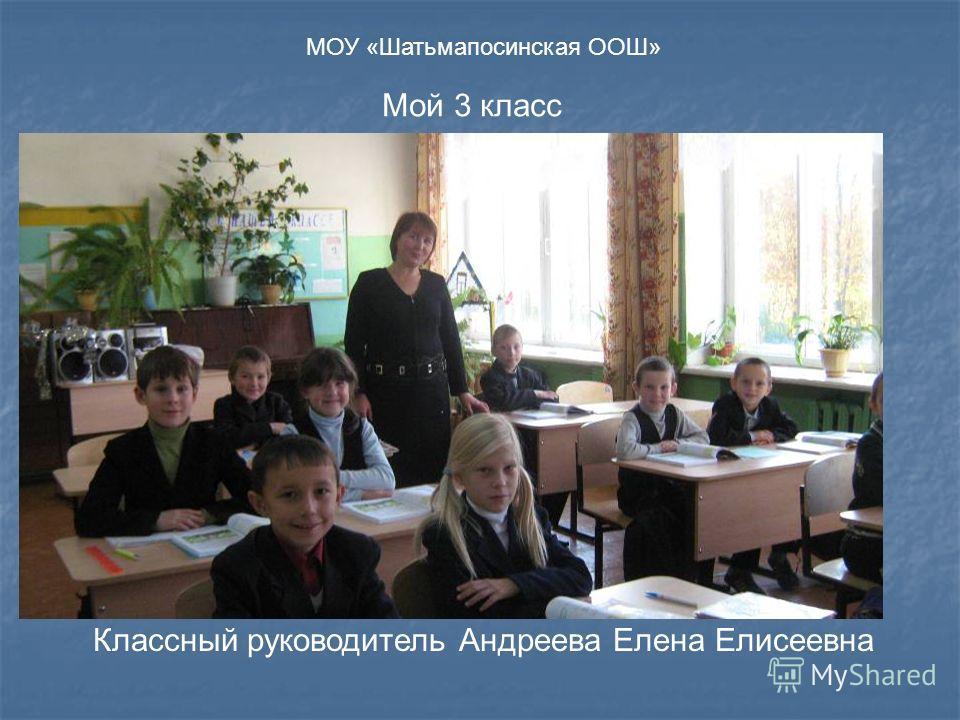 Мой 3 класс Классный руководитель Андреева Елена Елисеевна МОУ «Шатьмапосинская ООШ»