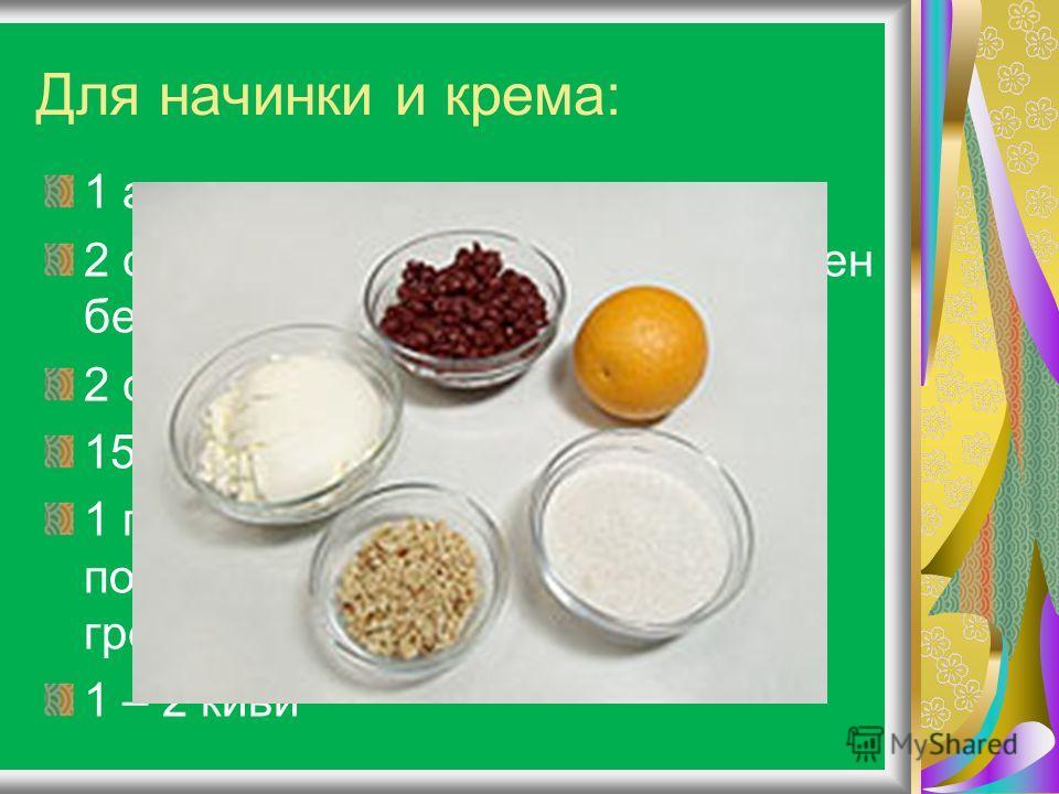 Для начинки и крема: 1 апельсин 2 стакана консервированных вишен без косточек и жидкости 2 стакана отцеженной сметаны 150 г мелкого сахара 1 горсть (30-40 г) слегка поджаренных измельченных грецких орехов 1 – 2 киви