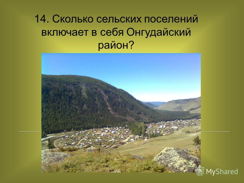 14. Сколько сельских поселений включает в себя Онгудайский район?