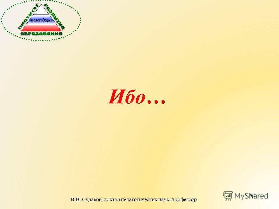 50 Ибо… В.В. Судаков, доктор педагогических наук, профессор Вологодский