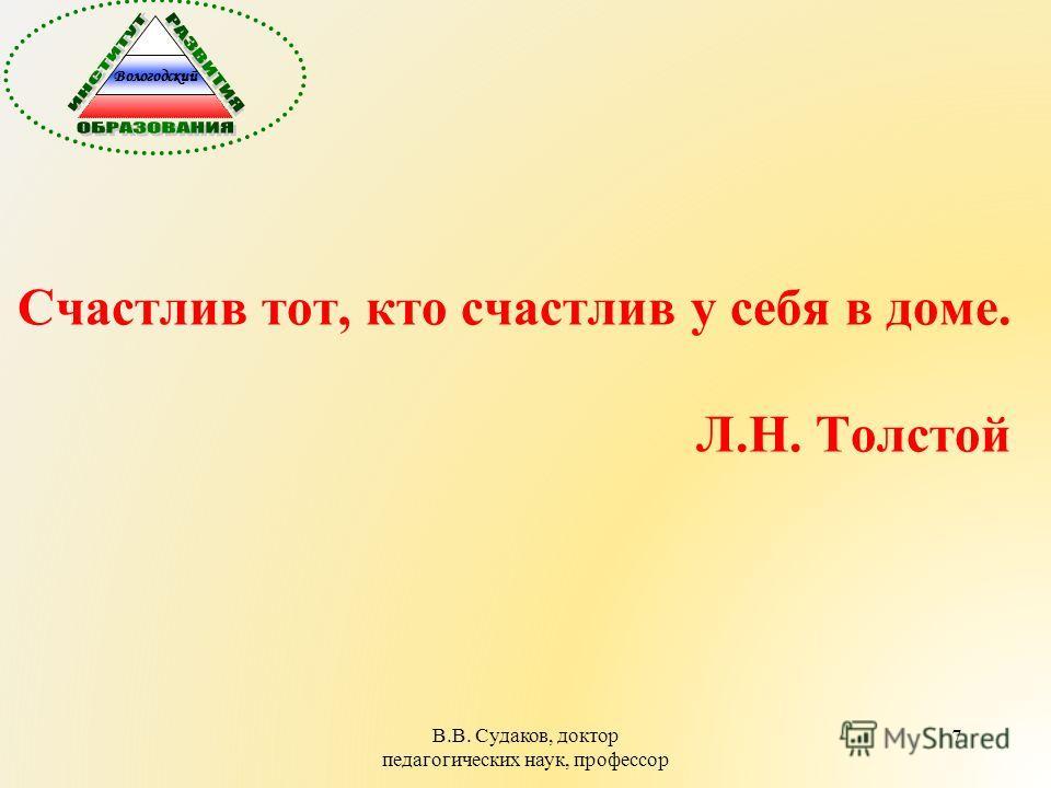 7 Счастлив тот, кто счастлив у себя в доме. Л.Н. Толстой В.В. Судаков, доктор педагогических наук, профессор Вологодский