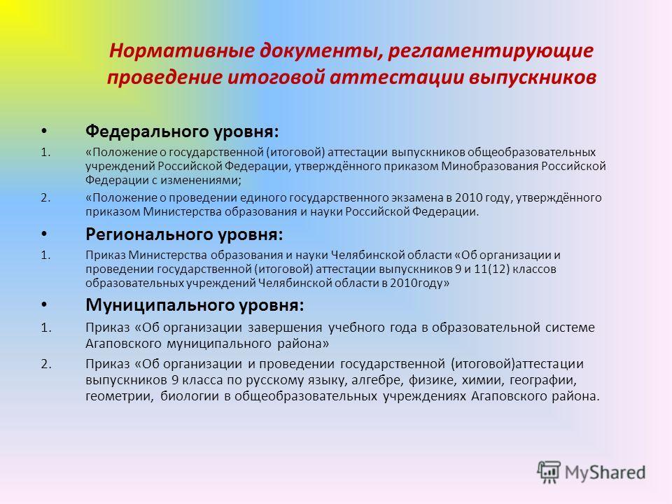Нормативные документы, регламентирующие проведение итоговой аттестации выпускников Федерального уровня: 1.«Положение о государственной (итоговой) аттестации выпускников общеобразовательных учреждений Российской Федерации, утверждённого приказом Миноб