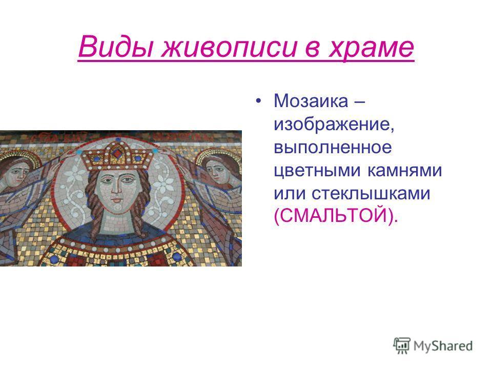 Виды живописи в храме Мозаика – изображение, выполненное цветными камнями или стеклышками (СМАЛЬТОЙ).