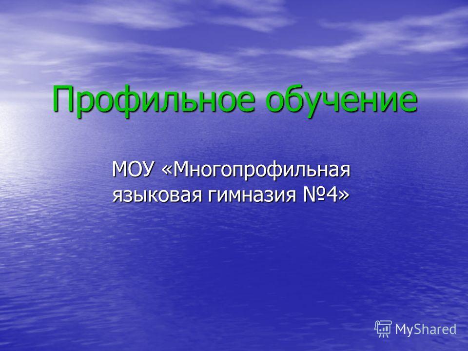 Профильное обучение МОУ «Многопрофильная языковая гимназия 4»
