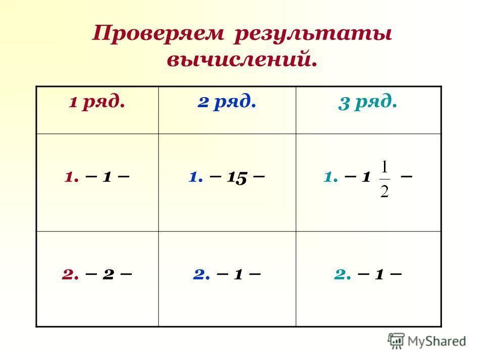 Проверяем результаты вычислений. 1 ряд.2 ряд.3 ряд. 1. – 1 –1. – 15 –1. – 1 – 2. – 2 –2. – 1 –
