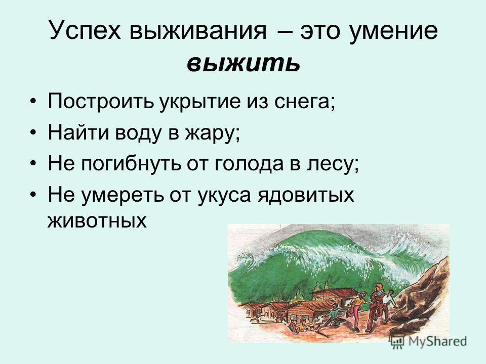 Успех выживания – это умение выжить Построить укрытие из снега; Найти воду в жару; Не погибнуть от голода в лесу; Не умереть от укуса ядовитых животных