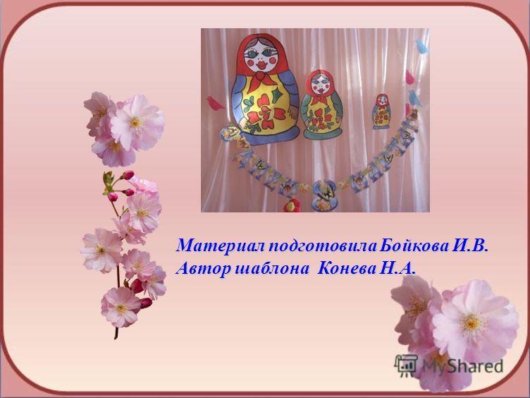 Материал подготовила Бойкова И.В. Автор шаблона Конева Н.А.