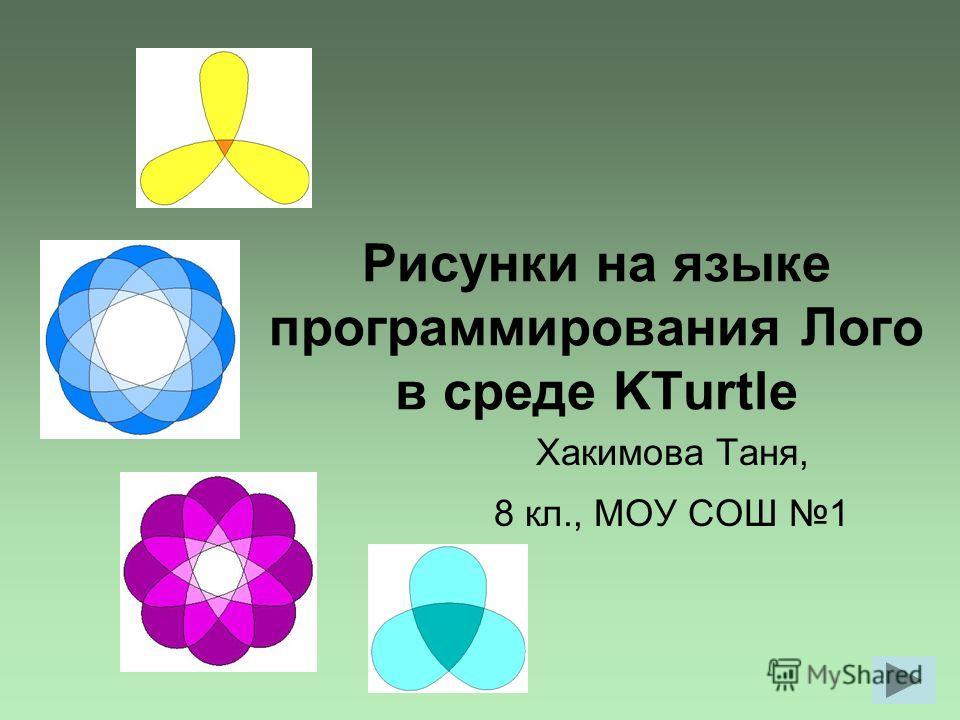 Рисунки на языке программирования Лого в среде KTurtle Хакимова Таня, 8 кл., МОУ СОШ 1