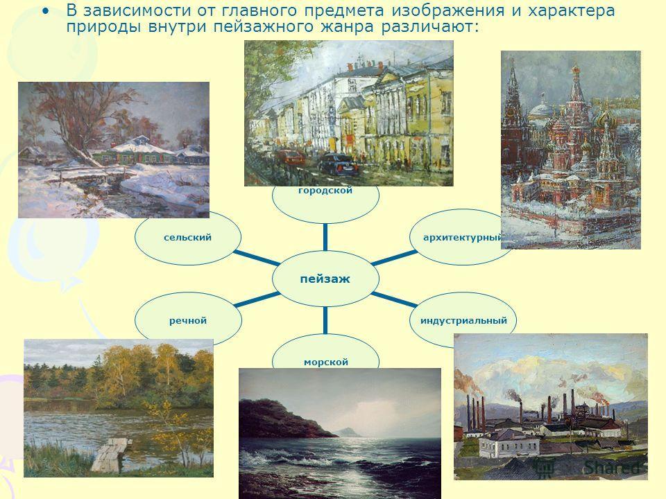 В зависимости от главного предмета изображения и характера природы внутри пейзажного жанра различают: пейзаж городской архитектурныйиндустриальныйморскойречнойсельский