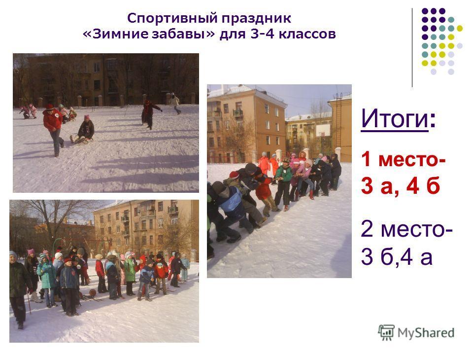 Спортивный праздник «Зимние забавы» для 3-4 классов Итоги: 1 место- 3 а, 4 б 2 место- 3 б,4 а