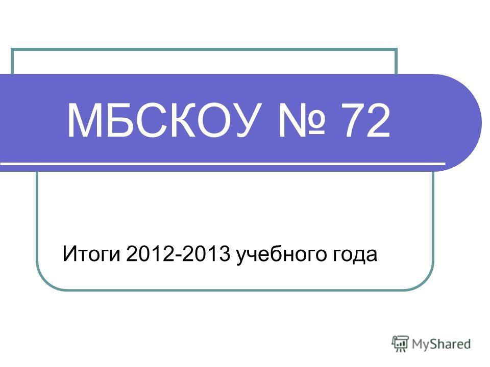 МБСКОУ 72 Итоги 2012-2013 учебного года