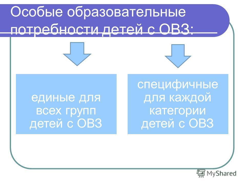 Особые образовательные п отребности детей с ОВЗ: единые для всех групп детей с ОВЗ специфичные для каждой категории детей с ОВЗ