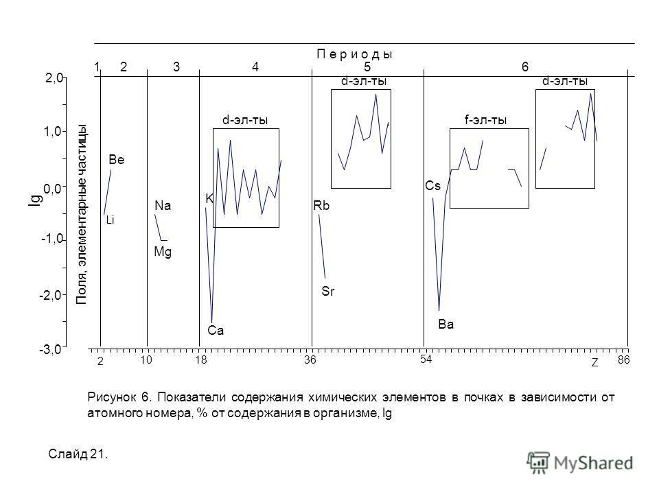 Поля, элементарные частицы -3,0 -2,0 -1,0 0,0 1,0 2,0 lg П е р и о д ы 124356 Ba Cs Sr Rb Ca K Mg Na Be d-эл-ты f-эл-тыd-эл-ты Li Рисунок 6. Показатели содержания химических элементов в почках в зависимости от атомного номера, % от содержания в орган