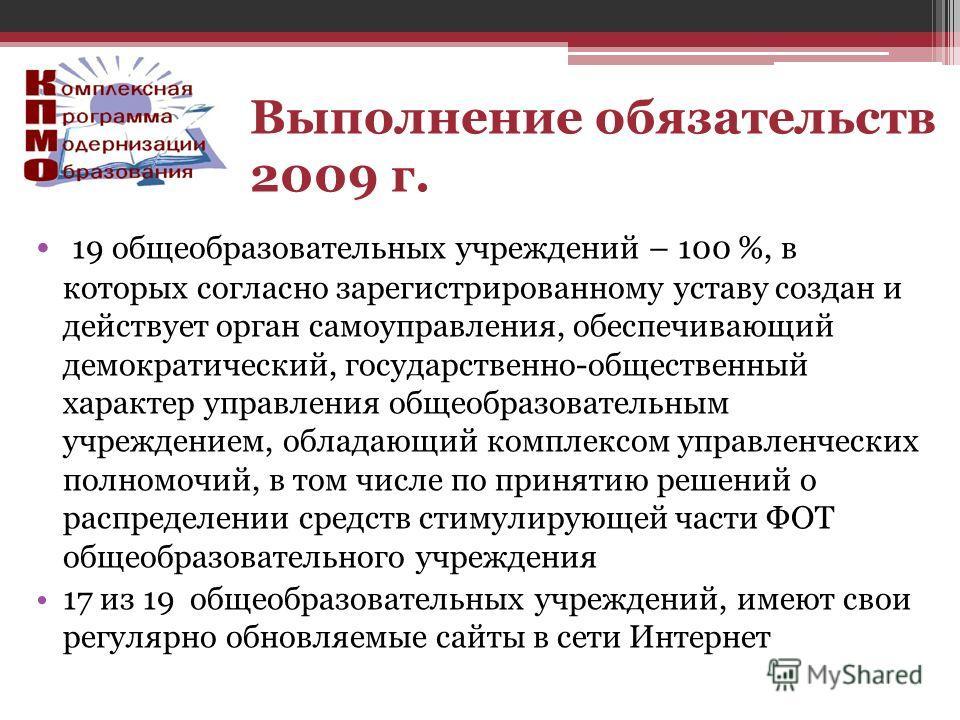 19 общеобразовательных учреждений – 100 %, в которых согласно зарегистрированному уставу создан и действует орган самоуправления, обеспечивающий демократический, государственно-общественный характер управления общеобразовательным учреждением, обладаю